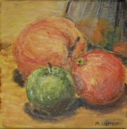 Apples and oranges. Oil on canvas. 15x15. 2009
