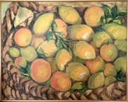 Basket with citrus fruits. Oil on cardboard. 50x70. 2008
