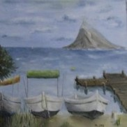 Boats and bridge. Oil on canvas. 40x40. 2008