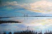 Bridge over Øresund. OIl on canvas. 80x100. 2009