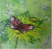 Buttefly and dandelion. Oil on canvas. 30x30. 2009