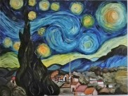 Copy of Van Coghs Starry night. Oil on canvas. 100x120. 2012