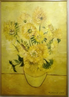 Copy of Van Goghs Sunflowers. Oil on cardbosrd. 70x100. 2012