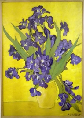 Copy og Van Gogs Irises. Oil on cardboard. 70x100. 2012