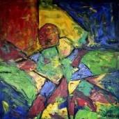 Dance eith a green dolphin. Acrylic on canvas. 100x100. 2013