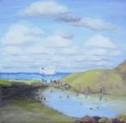 Mudbaths on Volcano. Oil on canvas. 40x40. 2009