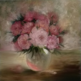 Peonies in a glass vase. Oil on canvas. 90x90. 2017