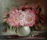 Peonies in porcelain vase. Oil on canvas. 50x60. 2017