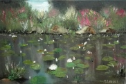 Water lilies in a pond 2. Oil on canvas. 30x40. 2017